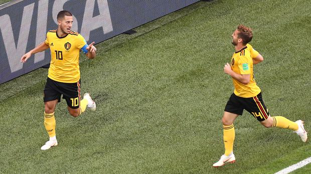 753dbb693 Eden Hazard, left, pictured celebrating scoring his side's second goal  against England, was