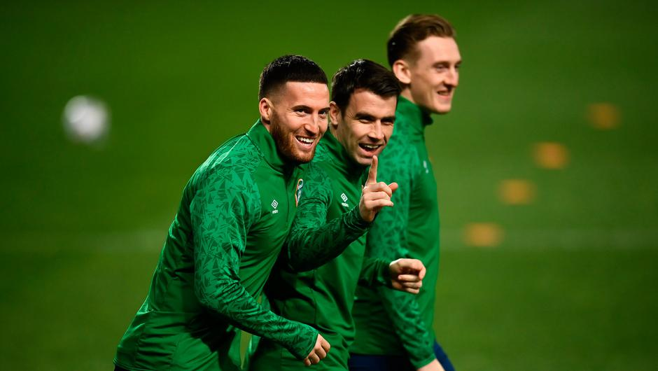 Matt Doherty, Seamus Coleman and Ronan Curtis during a Republic of Ireland training session at Stadion Rajko Mitic in Belgrade. Photo: Stephen McCarthy/Sportsfile