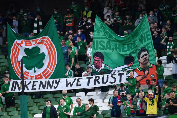 Fans' banner pledges support for Ireland manager Stephen Kenny at the Aviva Stadium last night. Photo: Reuters