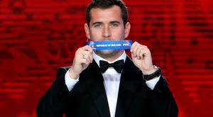 Alexander Kerzhakov holds up the name Republic of Ireland during the World Cup draw