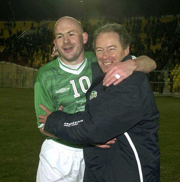 Brian Kerr and Lee Carsley celebrate Ireland's victory in Georgia in 2003 Photo: Sportsfile