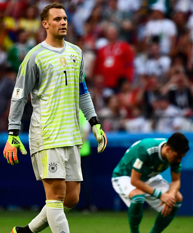 Manuel Neuer shows his disappointment after Germany crashed out of the World Cup. Photo: Getty Images