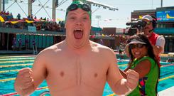 Team Ireland's Sean Coleman celebrates his silver in the 25m backstroke at the Uytengsu Aquatics Center