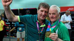 Matt English, CEO of Special Olympics Ireland, left, with Team Ireland's Peter Malynn