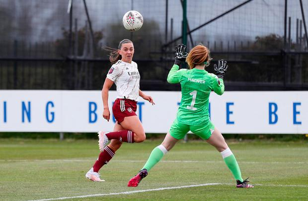 Katie McCabe, pictured here scoring for Arsenal in last Saturday's FA Women's Super League match against Everton, has signed a new contract with the Gunners
