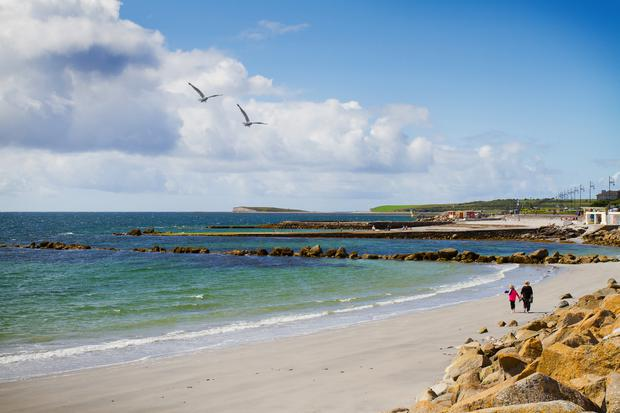 The beach and promenade at Salthill