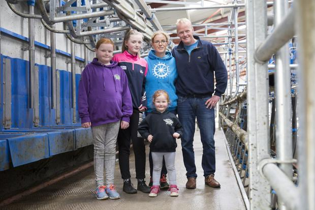 Zurich Farm Insurance Farming Independent Farmer to the Year 2017 winners, Paula and Peter Hynes, with their daughters, Chloe, Georgie and Becky