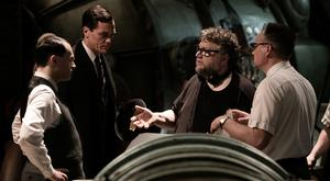 David Hewlett, Michael Shannon, Michael Stuhlbarg, and director Guillermo del Toro making Best Picture winner, The Shape of Water