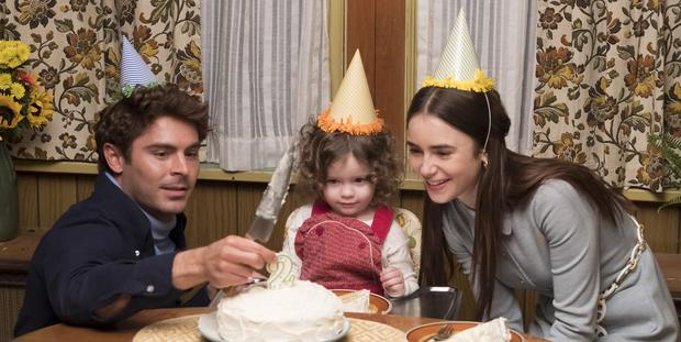 A picture of domestic bliss: Zac Efron, Macie Carmosino and Lily Collins in Extremely Wicked, Shockingly Evil, and Vile