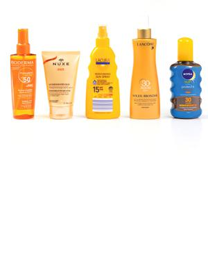 Pictured, from left, Bioderma Photoderm Bronz SPF 50+; Nuxe Refreshing After-Sun Lotion; Lacura Moisturising Sun Spray SPF 15; Lancome Soleil Bronzer Soothing Protective Milk-Mist SPF 30; Nivea Sun Protect and Bronze Tan Activating Protecting Oil SPF 30