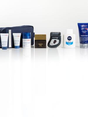 Pictured, from left, ClarinsMen Grooming Essentials; Tom Ford Noir Extreme; Emjoi Micro Pedi Man; Nivea Sensitive Cooling Post Shave Balm; Kiehl's Facial Fuel SPF 15 Energizing Moisture Treatment for Men. Photo: Kip Carroll.