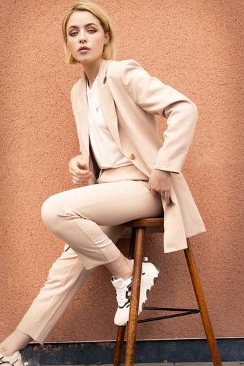 'Michelle' blazer, €86, 'Gloria' trouser, €55, and 'Marie' T-shirt, €32,ohmolly.ie