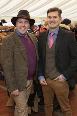 Chef and TV personality Edward Hayden (left) with Ronan Wilson, winner of the Best Dressed Gentleman prize, which Edward judged at the Redmills Race Day at Kilkenny's Gowran Park