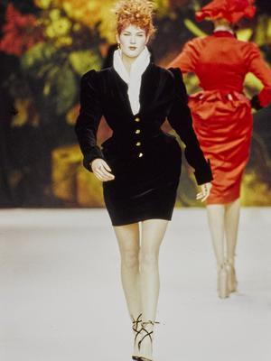 A model in one of Vivienne Westwood's signature corsetted designs in 1995