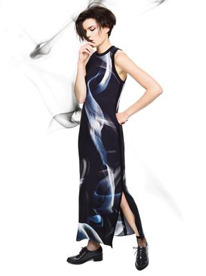 Zoe Jordan's graphic print long dress with slit sides (€107)