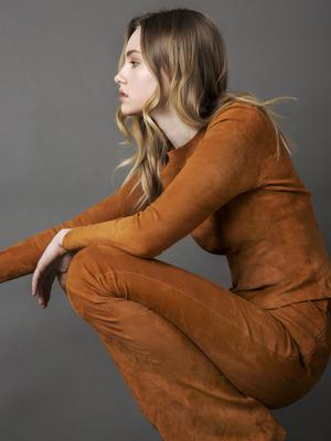 Long sleeved Stretch suede fittedtop, €790; boot-cut trousers, €975