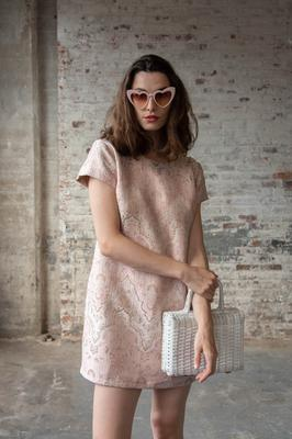 Jackie collection jacquard dress, €175; heart-shaped glasses, €25, all omdivaboutique.com
