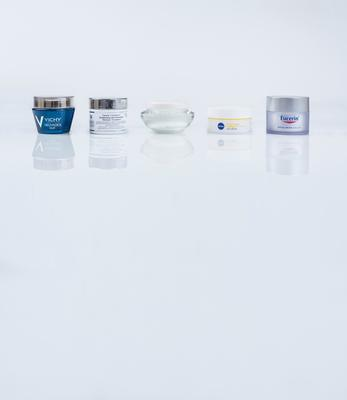 Pictured, from left, Vichy Neovadiol Nuit Densifying and Sculpting Night Care; Kiehl's Clearly Corrective Brightening and Smoothing Moisture Treatment; Guinot Newhite Brightening Day Cream SPF 30; Nivea Q10 Plus Anti-Wrinkle Day Cream SPF 15; Eucerin Anti-Age Hyaluron-Filler Day Cream SPF 15 UVB + UVA