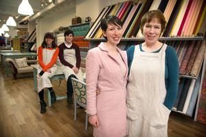 THE FAMILY TRADITION: Sinead Martin and her mother Deirdre Noonan, owners of The Cloth Shop, with Aimee Chan and Thomas Donovan in the background. Photo: Tony Gavin