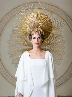Headpiece, price on request, Mark T Burke. Dress €1,145 Umit Kutluk. Photo: Patrick Bolger