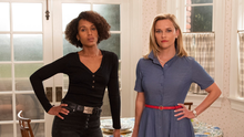Kerry Washington with her more relaxed look beside Reese Witherspoon in Little Fires Everywhere