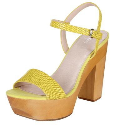 Yellow reptile print platform sandals from Next (€60)