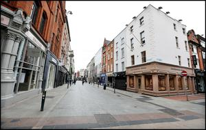Fashion on lockdown: Dublin's Grafton Street is devoid of shoppers on St Patrick's Day