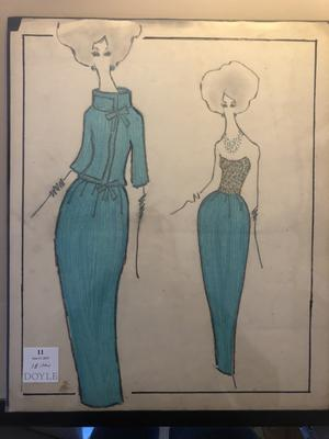 Original fashion sketches forJacqueline Kennedy by Oleg Cassini, purchased by Irish designer Jacqueline Quinn