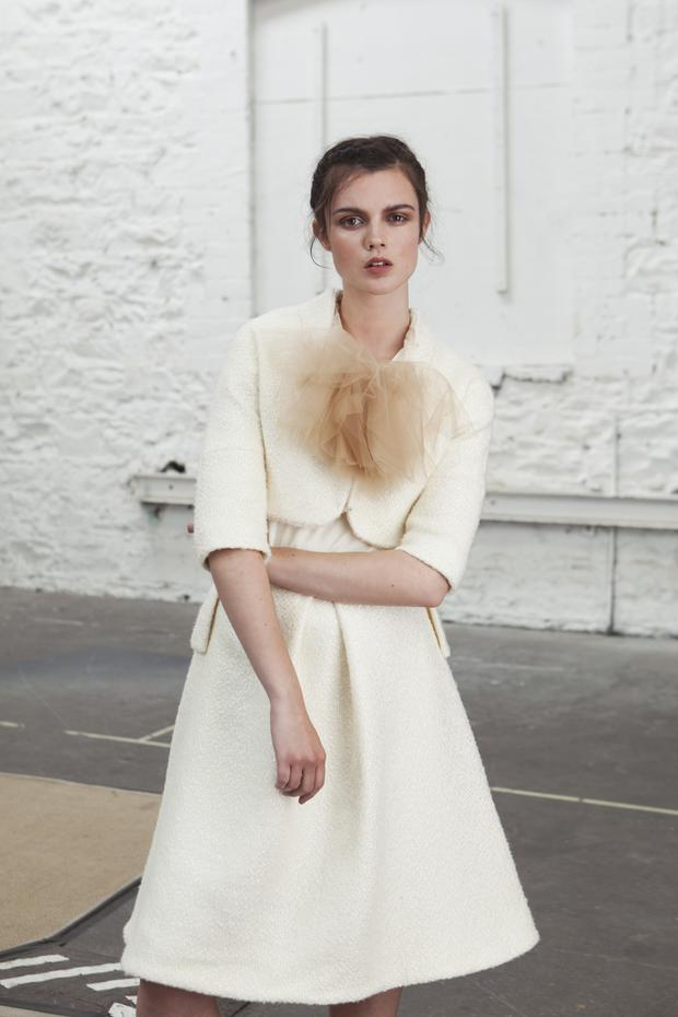 Wool and cashmere jacket, €395; top with neck detail, €260; wool and cashmere skirt, €495, all Sean Byrne.
