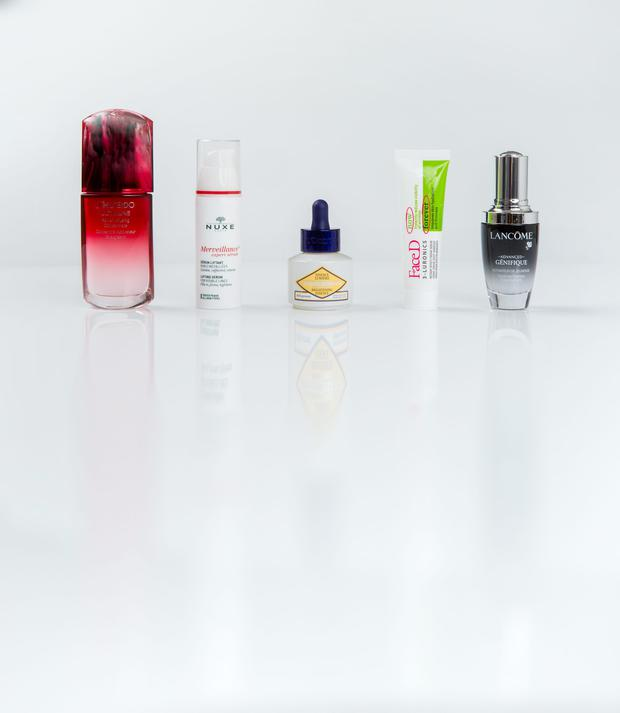 Pictured, from left, Shiseido Ultimune Power Infusing Concentrate; Nuxe Merveillance expert serum; L'Occitane Immortelle Brightening Essence; FaceD 3-Luronics Instant Effect Cream Serum; Lancome Advanced Genifique Youth Activating Concentrate