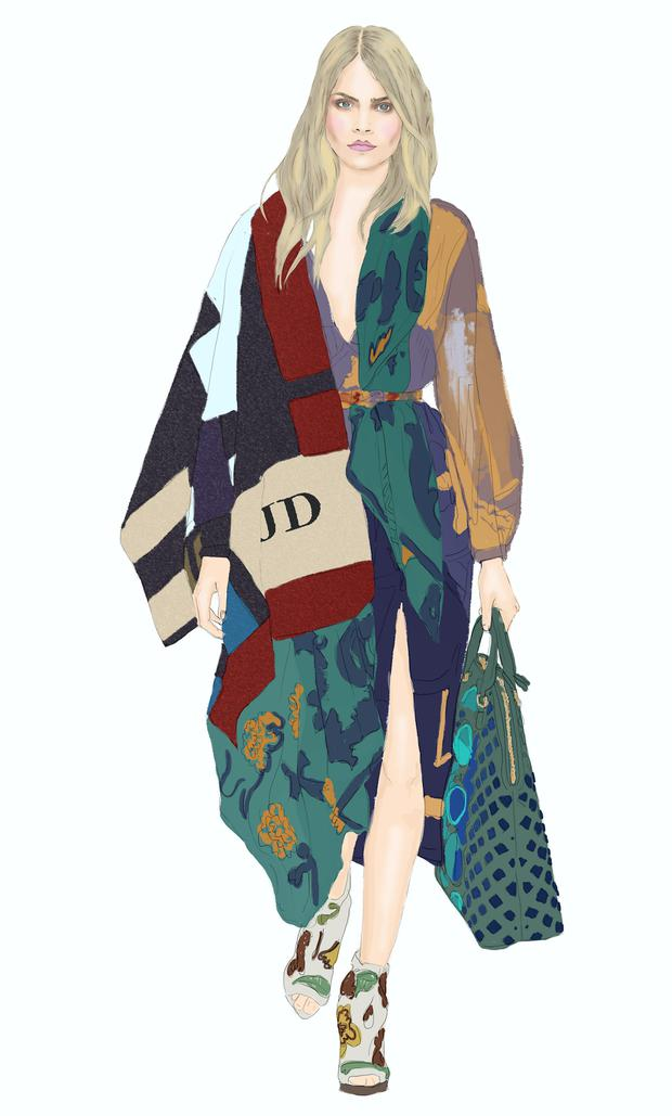 Illustration by Moona AlQahtani; inspired by Burberry AW14.