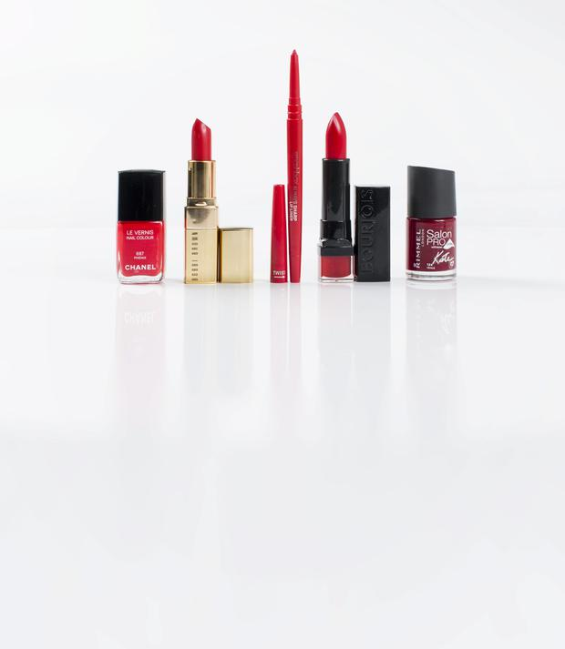 From left, Chanel Le Vernis in Phenix; Bobbi Brown Lip Colour in Sultry Red; Smashbox Always Sharp Lip Liner in Ruby; Bourjois Rouge Edition lipstick in Cherry Ma Cherie; Rimmel Salon Pro By Kate Nail Polish in Venus.