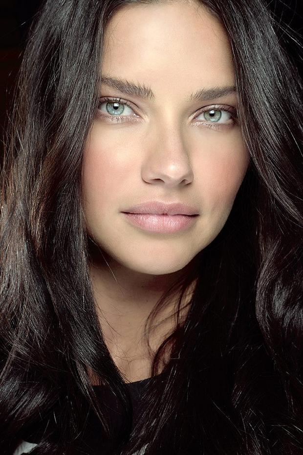 Adriana Lima photographed backstage at the Desigual show, make-up by MAC