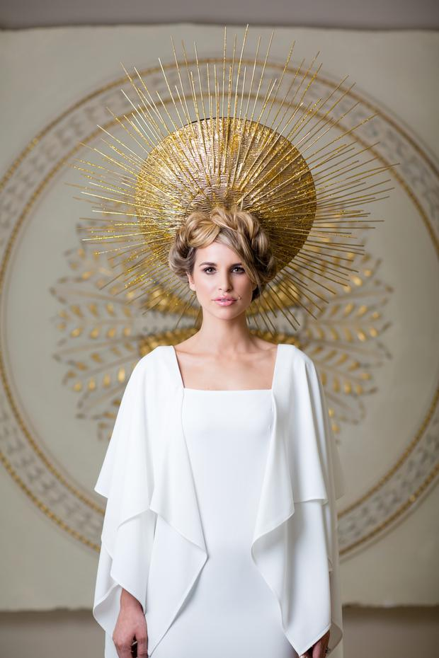 Vogue wears: Headpiece, price on request, Mark T Burke. Dress €1,145 Umit Kutluk. Photo: Patrick Bolger