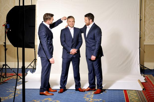 Jordi Murphy, Ian Madigan and Sean O'Brien at the Eden Park fashion shoot. Photo: Fred Goudon