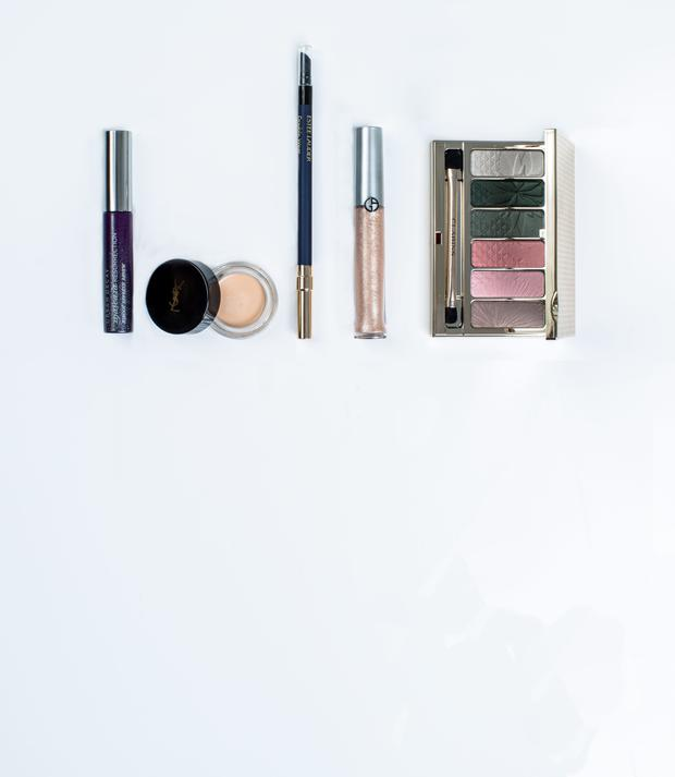Pictured, from left, Urban Decay Mascara Resurrection; YSL Couture Eye Primer in Fair; Estee Lauder Double Wear Stay-in-Place Eye Pencil in Sapphire; Giorgio Armani Eye Tint in Gold Ashes; Clarins 6-Colour Eye Palette in Garden Escape