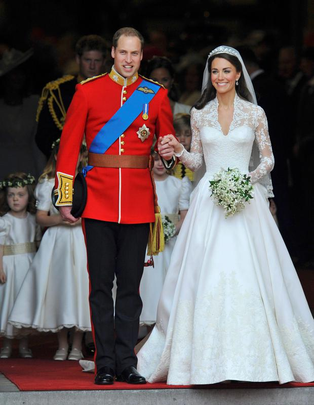Kate Middleton with Prince William at their wedding in 2011