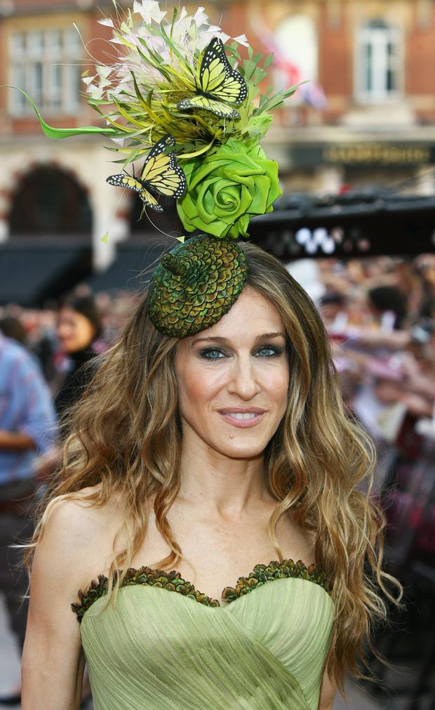 Sarah Jessica Parker wears a Philip Treacy hat