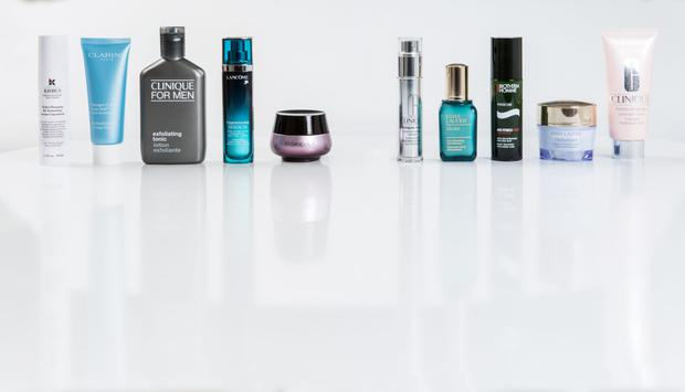 Pictured, from left, Kiehl's Hydro-Plumping Re-Texturizing Serum Concentrate; Clarins HydraQuench Cream-Mask; Clinique for Men Exfoliating Tonic; Lancome Visionnaire; YSL Forever Youth Liberator Y-Shape Creme; Clinique Smart Custom-Repair Serum; Estee Lauder Idealist Pore Minimizing Skin Refinisher; Biotherm Homme Age Fitness Night; Estee Lauder Hydrationist Maximum Moisture Creme; Clinique Moisture Surge Overnight Mask
