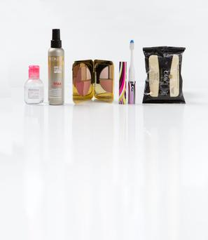 Pictured, from left, Bioderma Sensibio H2O Micelle Solution; Redken Frizz Dismiss FPF 20 Smooth Force; Tom Ford Eye and Cheek Palette; Slim Sonic toothbrush; Olay Total Effects 7in1 Age Defying Wet Wipes
