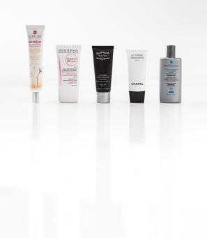 Pictured, from left, Erborian BB Creme SPF 20 in Clair; Bioderma Sensibio AR BB Cream SPF 30 in Clair; Fuschia Anti-Ageing Tinted Moisturiser Sunscreen SPF 30 in Light; Chanel CC Cream SPF 50 in Beige 20; SkinCeuticals Mineral Radiance UV Defence SPF 50
