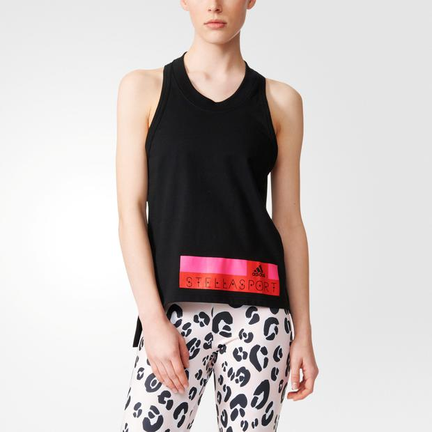 Stella Sport: black tank top, €35; running tights in black; and in pale-pink and leopard print,€50.