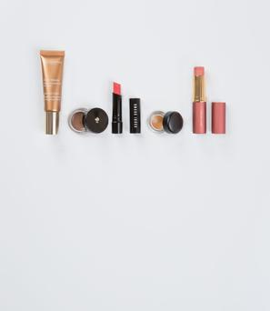 Pictured, from left, Clarins Instant Light Radiance Boosting Complexion Base in Gold Bronze; Lancome Waterproof Eyebrow Gel-Cream in Taupe; Bobbi Brown Sheer Lip Colour in Sunset Pink; Mac Fluidline Eye-Liner Gel in Brassy; Estee Lauder Pure Colour All-Over Illuminator