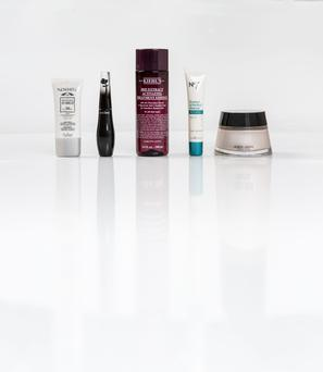 Pictured, from left, Guinot Newhite Brightening UV Shield SPF 50; Lancome Grandiose Mascara in Saphir Mirifique; Kiehl's Iris Extract Activating Treatment Essence; Boots No7 Protect and Perfect Intense Advanced Serum; Giorgio Armani Crema Nuda