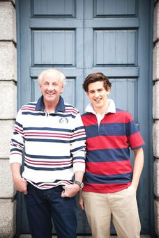 Paul photographed with his artist son William who, like his five brothers, played rugby at Ampleforth College