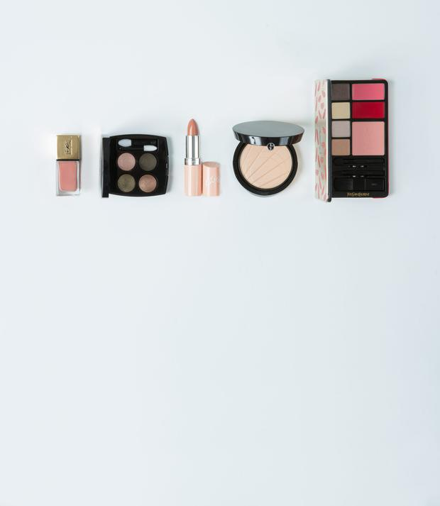 Pictured, from left, YSL Nail Lacquer Matte Finish in Le Nu; Chanel Les 4 Ombres in Tisse D'Automne; Rimmel Lasting Finish by Kate Lipstick in No 45; Giorgio Armani Eclipse Highlighting Palette; YSL Kiss & Love Edition Complete Make-Up Palette. Photo: Kip Carroll
