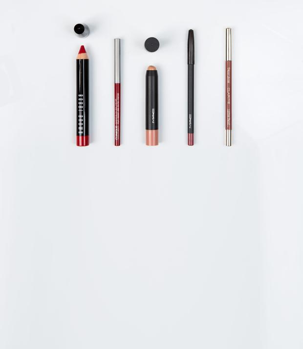 Pictured, from left, Bobbi Brown Art Stick in Harlow Red; Clinique Quickliner for Lips Intense in Intense Cranberry; Mac Patentpolish Lip Pencil in Innocent; Mac Pro Longwear Lip Pencil in In Control; Clarins Lipliner Pencil in Nude Beige. Photo: Kip Carroll