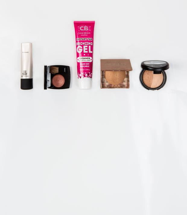 Pictured, from left, Mac Strobe Cream; Chanel Powder Blush in Alezane; Cocoa Brown Instant Tan Bronzing Gel Shimmer; Urban Decay Naked Illuminated in Lit; Flormar Terracotta Powder in Dual Gold. Photo: Kip Carroll