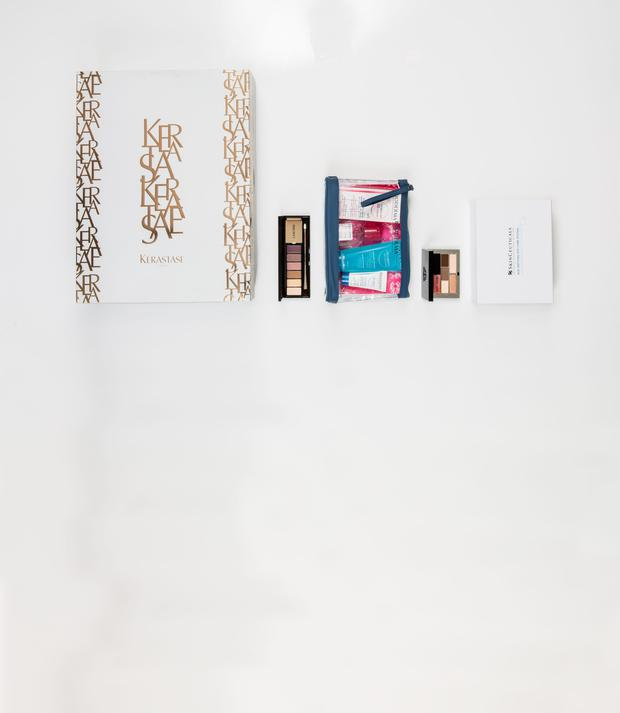 Pictured, from left, Kerastase Deluxe Advent Calendar; Lancome La Palette 29 Faubourg Saint Honore; Bioderma Christmas Pouch; Bobbi Brown Mini Lip & Eye Palette in Bellini; Skinceuticals Age-Defying Eye Care System. Photo: Kip Carroll.
