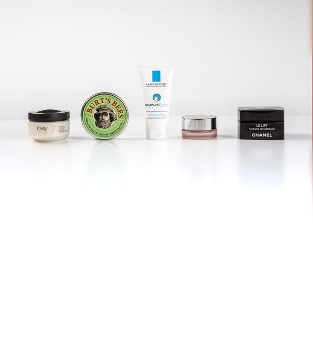 Pictured, from left, Olay Total Effects 7-in-one Multi-Action Night Cream-Mask; Burt's Bees Miracle Salve; La Roche-Posay Cicaplast Mains; Clinique Moisture Surge Melting Mask Balm; Chanel Le Lift Masque de Massage. Photo: Kip Carroll